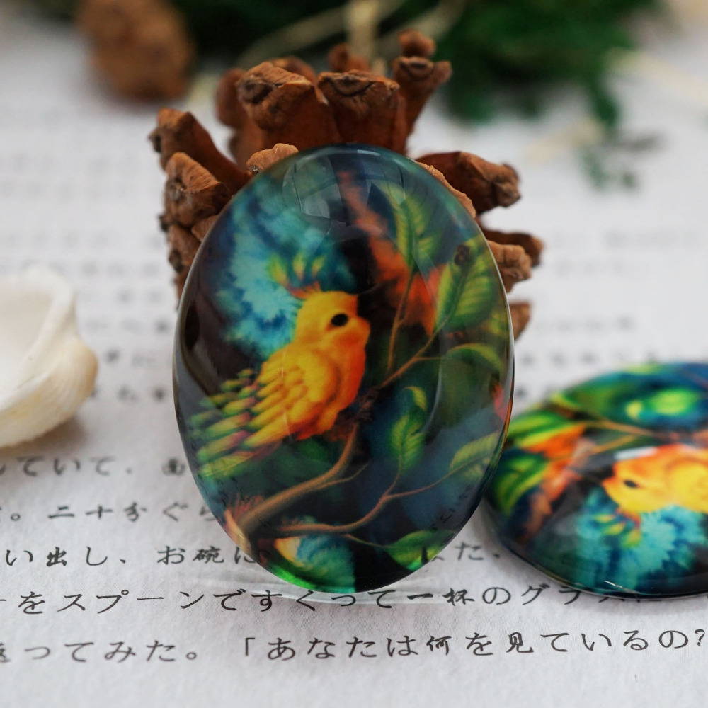 Round 8-40mm Oval 18x25mm 30x40mm Bird Glass Cabochon For Bracelet Necklace Earring Rings Brooch DIY Jewelry Hand Made Supply