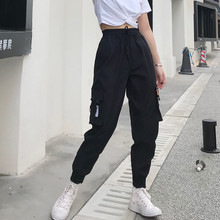 Hot Big Pockets Cargo pants women High Waist Loose Streetwear pants Baggy Tactical Trouser hip hop high quality joggers pants cheap NoEnName_Null Polyester Cotton Ankle-Length Pants CN(Origin) Spring Autumn women pants Solid Harem Pants Flat Ages 16-28 Years Old
