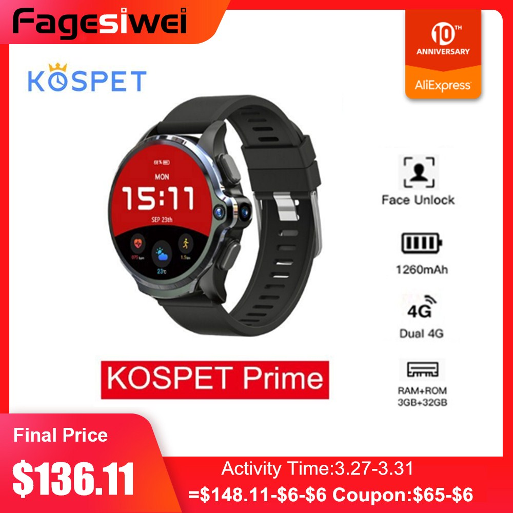KOSPET Prime 4G Smartwatch Phone 3GB 32GB 1.6'' Sports Smart Watch Men with Dual Cameras GPS 1260mAh Battery Face ID Unlock
