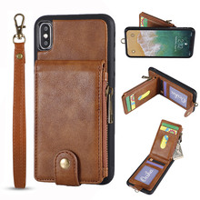 Funda de cuero para iPhone 6 7 8 Plus funda tipo billetera Xs telefono XS Max con ranuras tarjetas