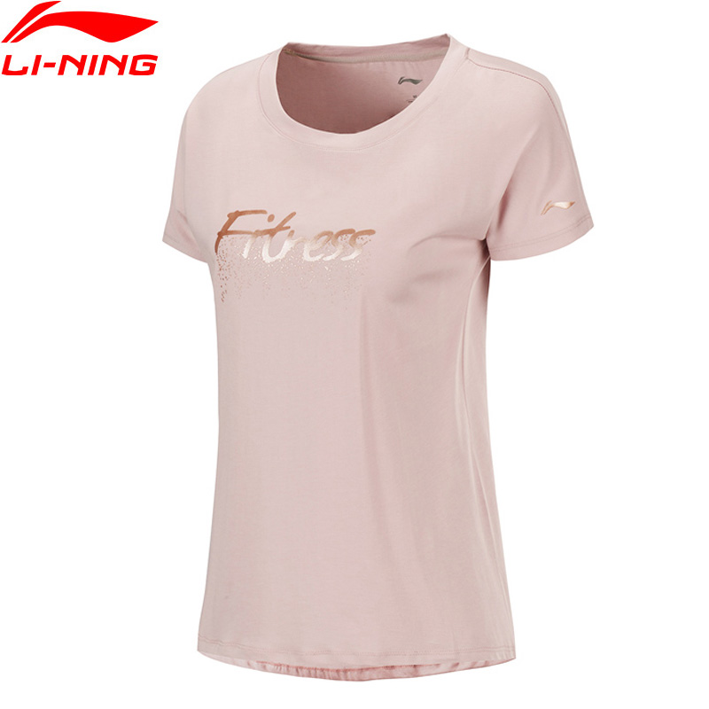 Li-Ning Women Training T-Shirts Breathable 60% Cotton 40% Modal Loose Fit LiNing Li Ning Fitness Sports Tee Tops ATSP212 WTS1517