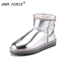 MBR FORCE New Waterproof Sheepskin Leather Pearl Color Women Sheep Fur Lined Short Ankle