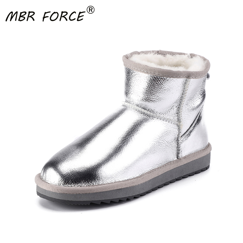 MBR FORCE New Waterproof Sheepskin Leather Pearl Color Women Sheep Fur Lined Short Ankle Snow Boots Winter Warm Shoes for girls image