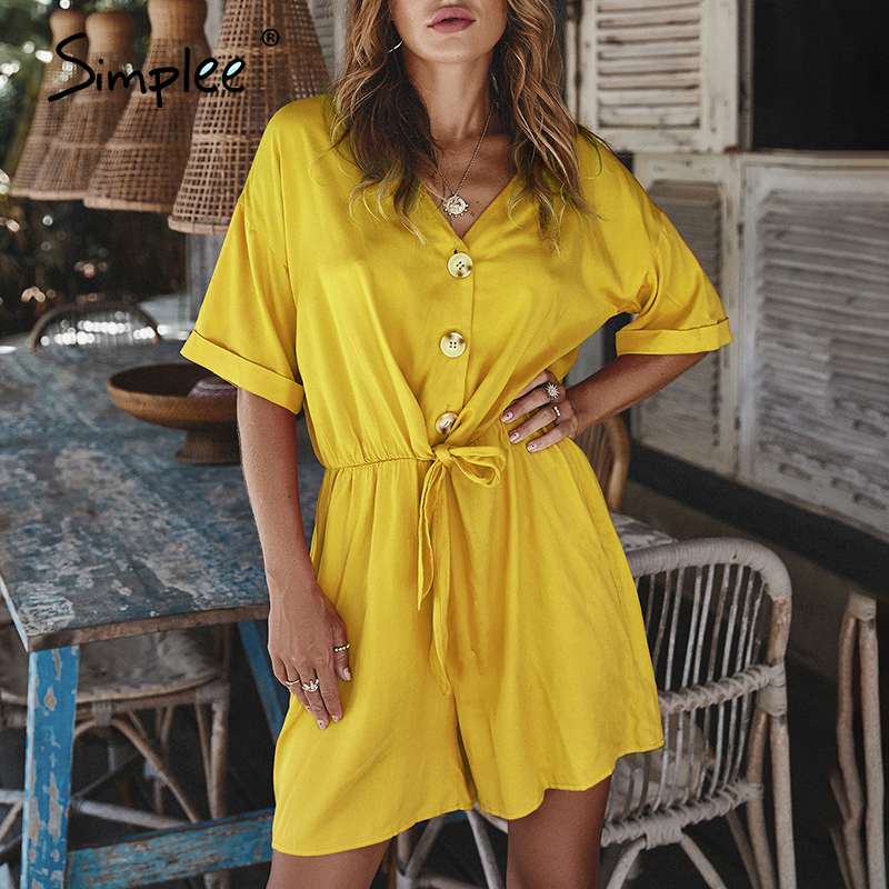 Simplee Casual Loose Women Playsuit Short Sleeve V Neck Lace Up Jumpsuit Romper Spring Summer Button Office Ladies Overalls 2020