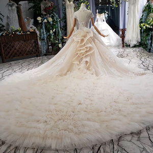 Image 2 - HTL634 elegante vestido de novia con tren de cuello alto de manga corta de encaje de cristal vestido de novia volante tren vestidos de noche vintage