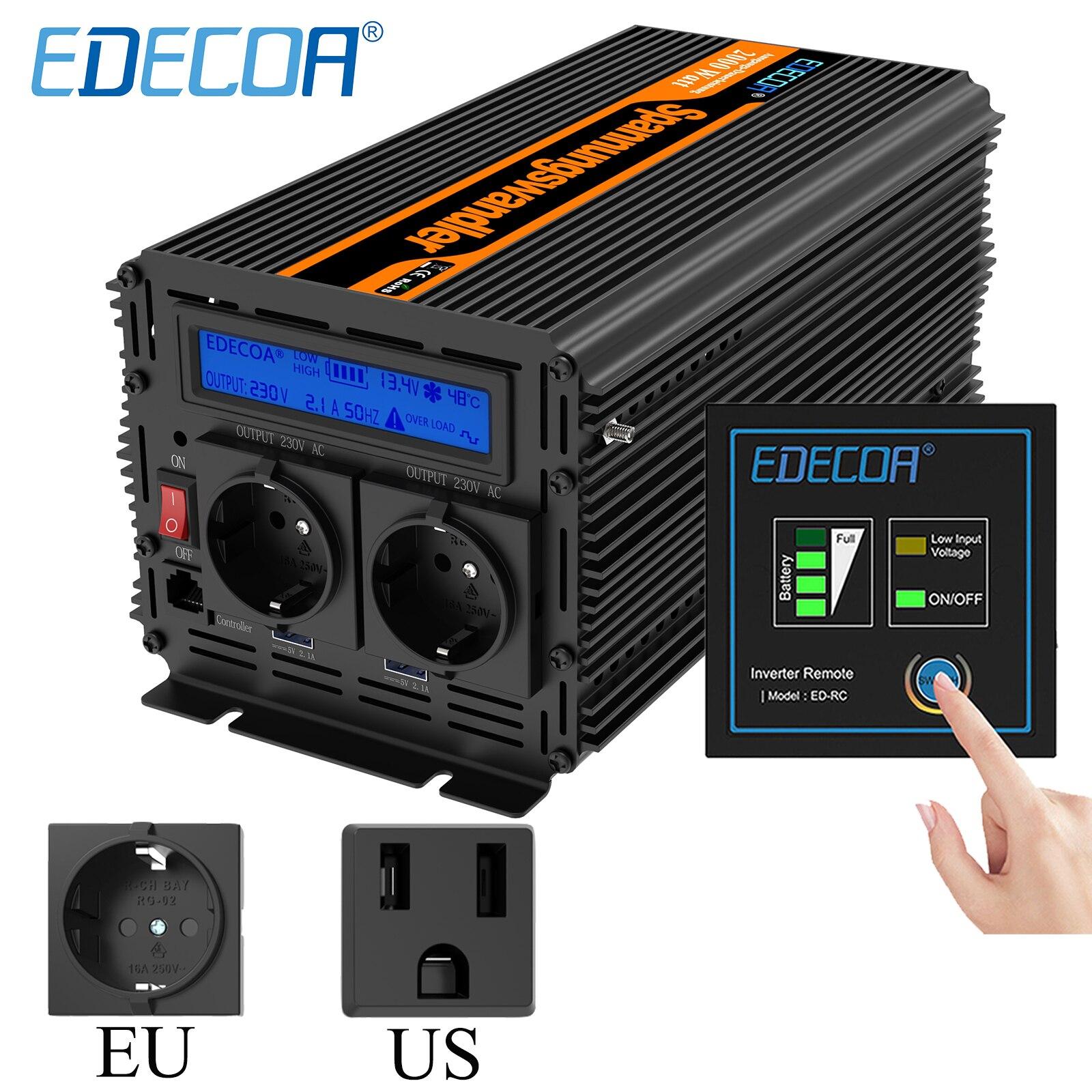 Edecoa 2000W 4000 Вт Модифицированная синусоида преобразователь постоянного тока 12v 24v к переменному току 220v 230v Питание 110v 120v 60Hz решеточный инверто...