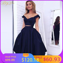 Homecoming-Dress Graduation-Dress Satin Knee-Length Navy Vestido-De-Formatura Two-Pieces