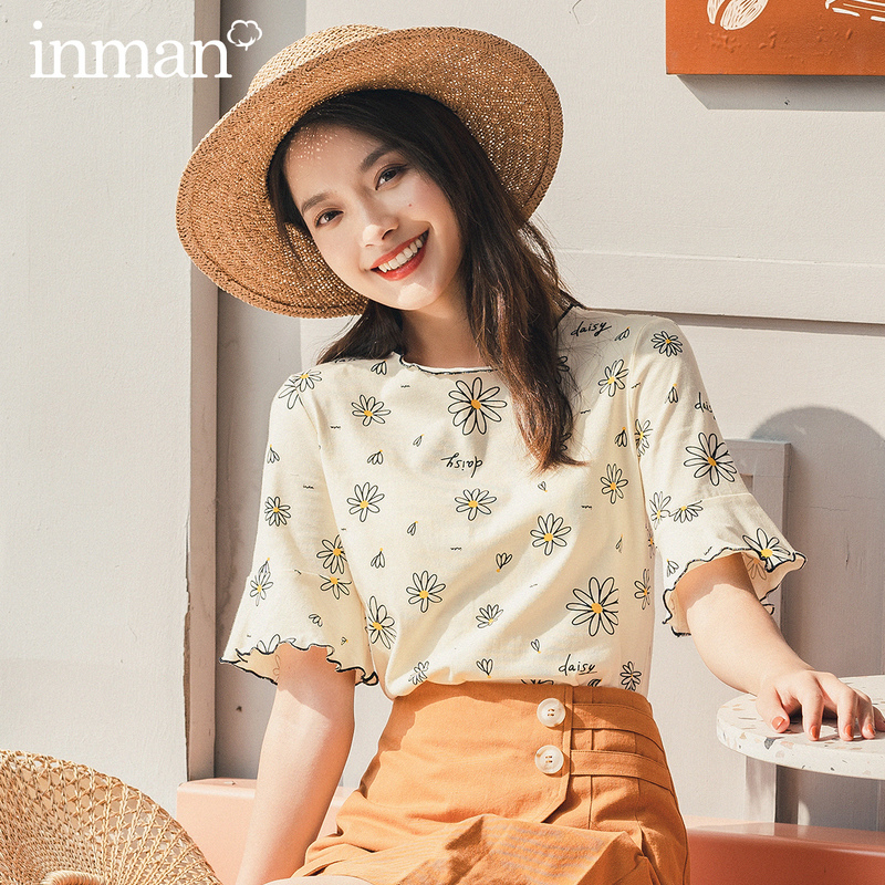 INMAN 2020 Summer New Arrival Short Sleeve 100% Cotton Trumpet Sleeve Daisy Print Pattern T-Shirt