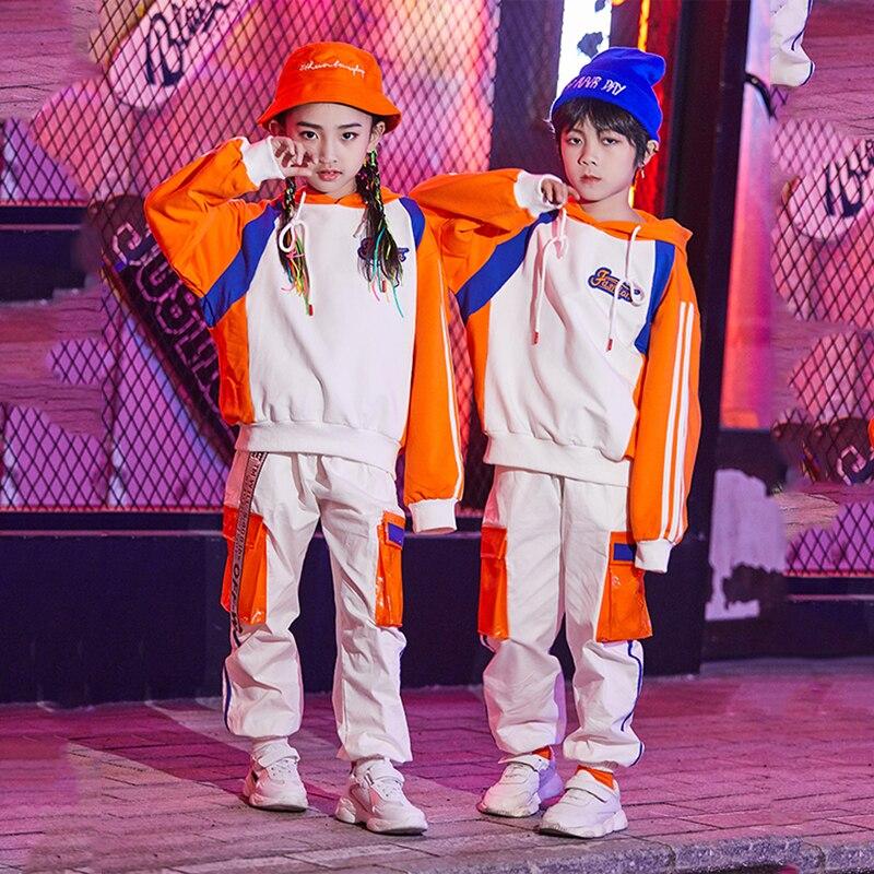 Children's Hip-hop Dance Costumes Boys Sweater Loose Hiphop Pants Girls Ballroom Dancing Clothes Jazz Modern Stage Wear DQS3798