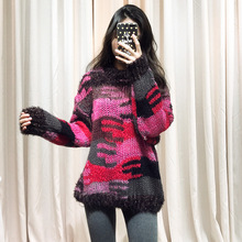 2019 New Autumn Sweater Color Camouflage Bright Silk Color Semi-high Round Collar Sleeve Wool Knitted Sweater Women Woolen Tide недорого
