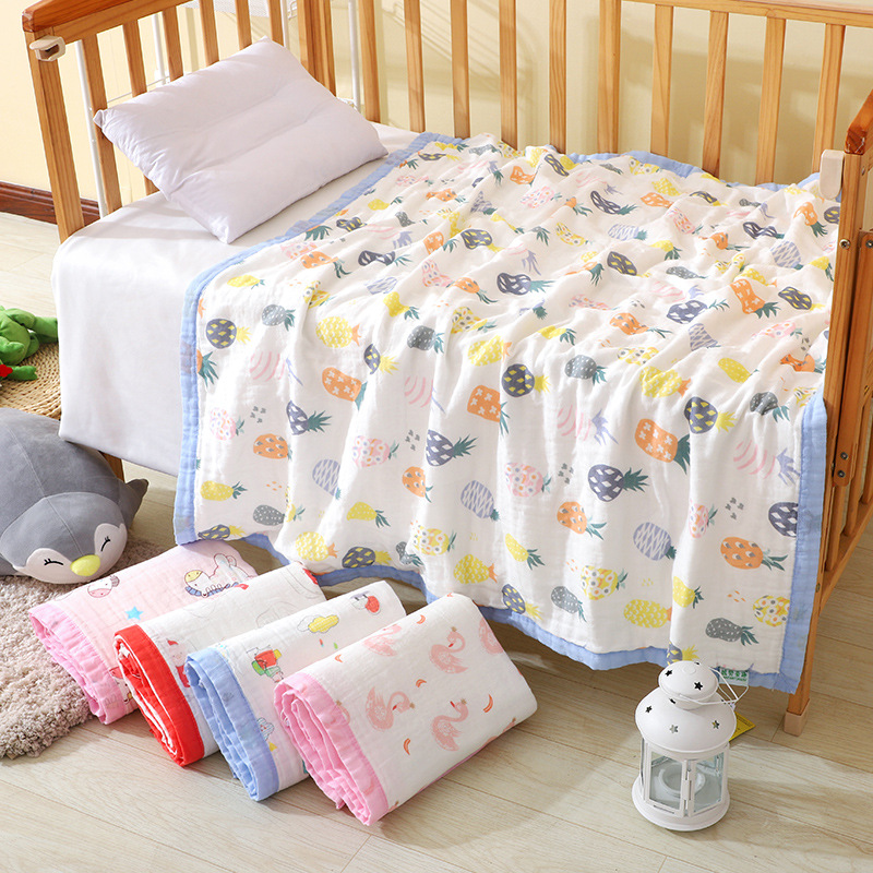 6 Layer Soft Baby Muslin Swaddle Blanket Bamboo Cotton Newborn Baby Bath Towel Swaddle Blankets MultiFunctions Baby Wrap