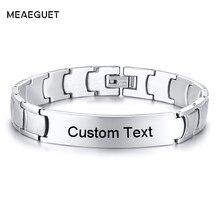 Klassische Kette Link Titan Stahl ID Armband Für Männer In Silber Ton Kostenloser Gravur 12mm Breite