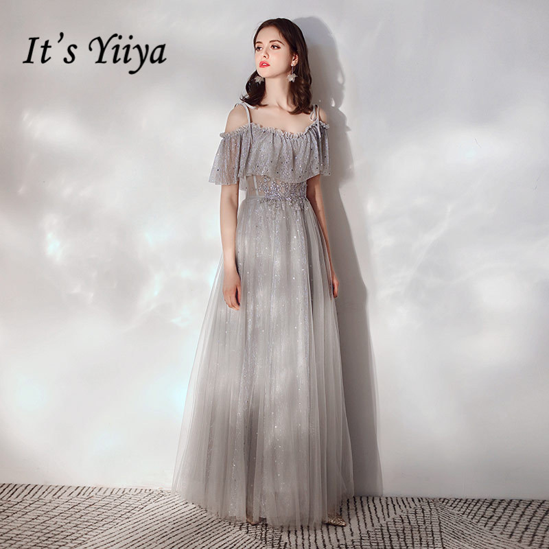 Evening Dresses It's Yiiya K289 Sling A-Line Floor-Length Special Occasion Dresses Gray Short Sleeve Crepe Robe De Soiree