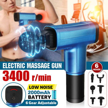 6 Heads Electric Muscle Booster Massage Guns Vibration Percussion Massager Body Therapy Deep Tissue Relaxation Pain Relief