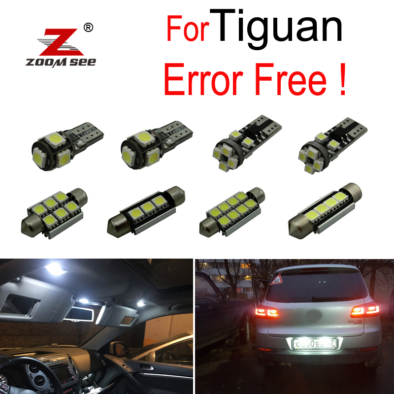 13pcs LED License plate lamp + Footwell lights for Tiguan LED interior dome map reading trunk light bulb full Kit (2009-2015)