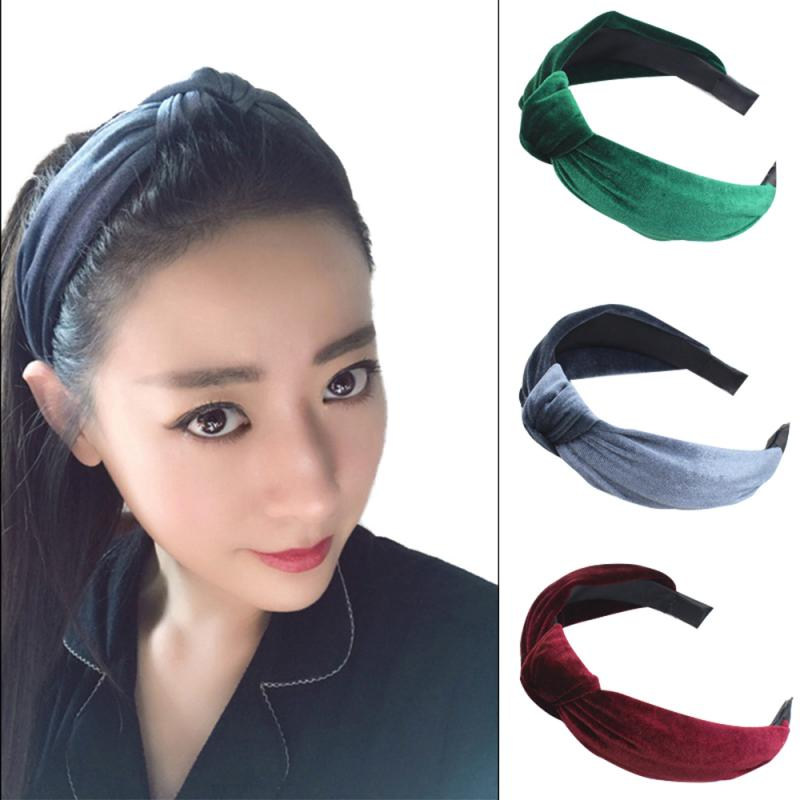 7 Colors Solid Color Soft Knotted Hairband Wide Side Bow Knot Cross Tie Velvet Hair Band Simple Cross Headwrap For Women Gifts