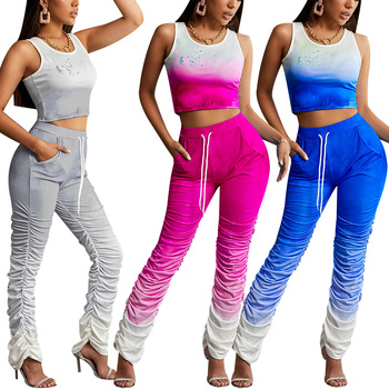Summer Tracksuits Women Two Piece Set Gradient Crop Top+Ruched Stacked Pants Joggers Bell Bottom Trouser Tanks Matching Suits gradient color tracksuit women two piece set short sleeve shirt crop top and stacked pants bell bottom streetwear matching sets