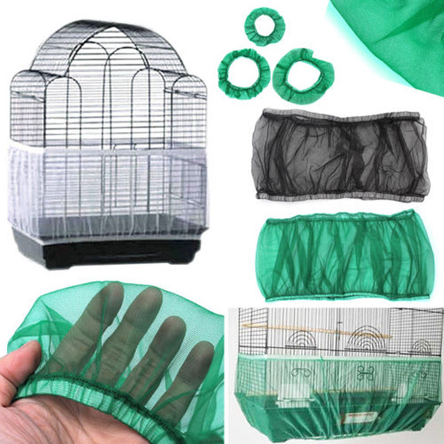 Nylon Mesh Bird Cage Cover Shell Skirt Net Easy Cleaning Seed Catcher Guard Bird Cage Accessories Airy Mesh Parrot Bird Cage Net 1