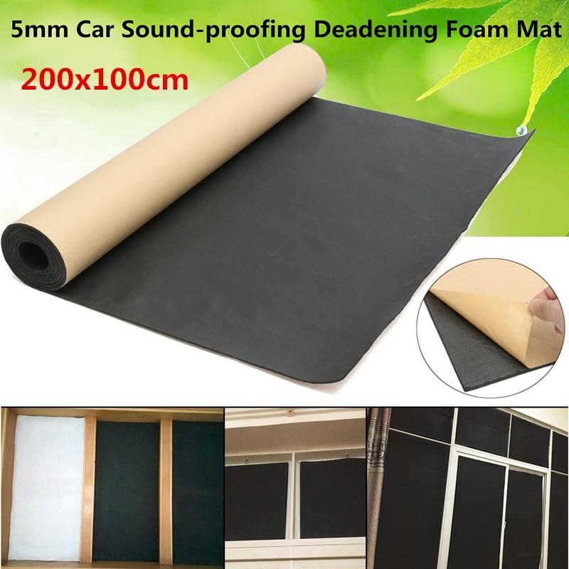 100cmx200cm 5mm 1 Roll Car Sound Heat Insulation Cotton Sound Proofing Deadening Insulation Foam Self Adhesiv Mat Panel Acoustic