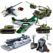 Sluban exército militar tanque veículos avião caminhão armado eua alemão guerra mundial 2 ii blocos de construção tijolos diy moc ww2 bunker conjuntos