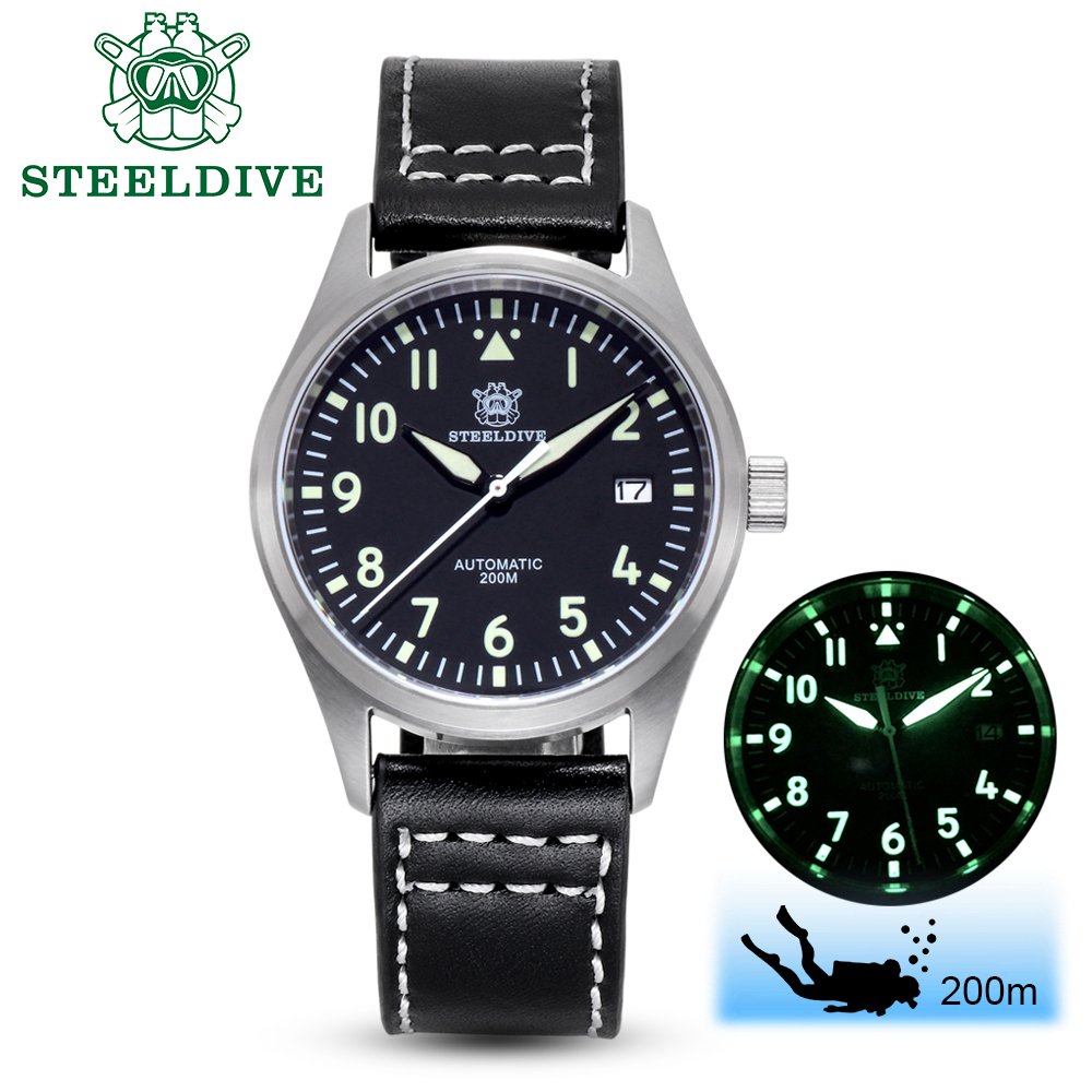 STEELDIVE 1940 Automatic Watch Men NH35A Pilot Watch Mens Stainless Steel Watches C3 Luminous Automatic Watch Diver Watches