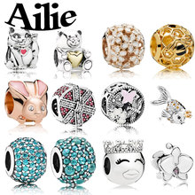 Ailie fit original Pandora charm bracelet DIY beads personality simple high quality lady 925 sterling silver fashion jewelry