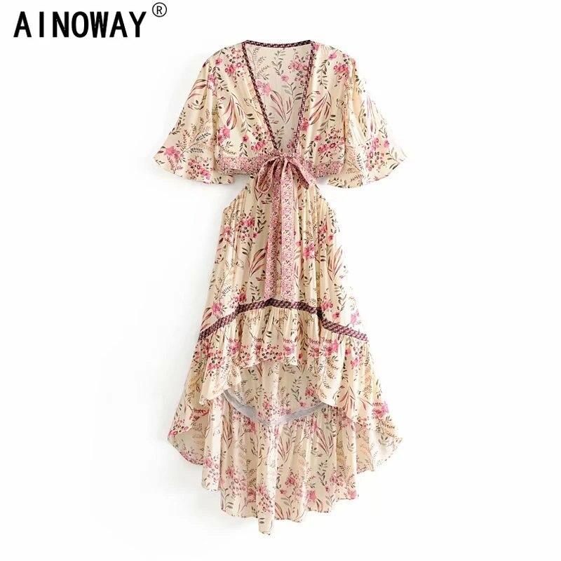 Винтажное шикарное женское платье с цветочным принтом, коротким рукавом, вискозное богемное женское платье с V-образным вырезом и кисточками, летнее плиссированное платье макси в стиле бохо, платья