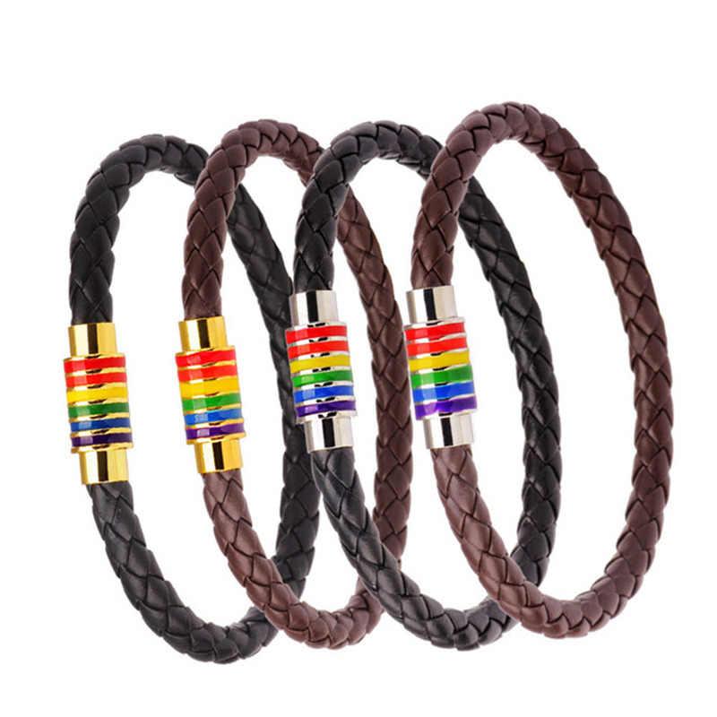 Preto trançado pulseira de couro lgbt feminino unissex aço inoxidável gay orgulho arco-íris magnético encantos pulseira