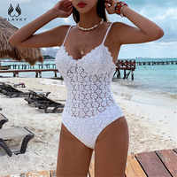 Sexy White Crochet Push Up One Piece Swimsuit Bodysuit Lady 2020 Monokini See Through Swimwear Women Swim Bath Suit Trikini