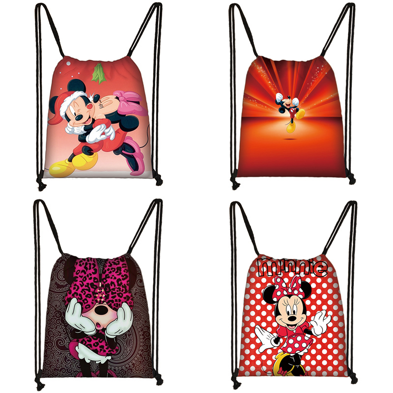 Mickey Minnie Print Drawstring Bag Women Travel Bag Teenager School Bag Brown Girl And Boy Backpack Fashion Female Storage Bag U