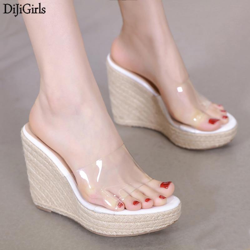 New Weaving Women Slippers Summer Wedge Slides Fashon Mules Shoes Female String Bead Sandalias