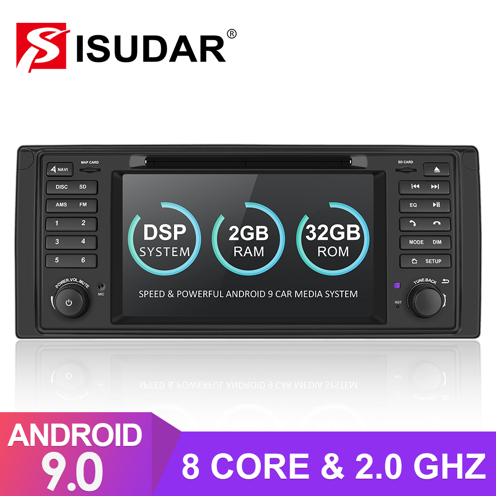 Isudar 1 Din Auto Radio Android 9 For BMW 5 Series/E39 Car Multimedia Navigation Video GPS Octa Core ROM 32GB USB DVR Camera DSP