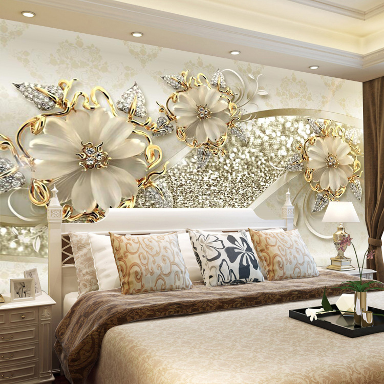 8d TV Background Wallpaper 5D Stereo Mural European Style Relief Jewelry Simple Living Room Bedroom Seamless Film And Television