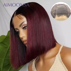Image 1 - 4x4 תחרת סגירת פאה בורגונדי תחרה מול פאה 130% צבעוני Ombre שיער טבעי פאות שיער אדום ישר 1B/99J לנשים רמי