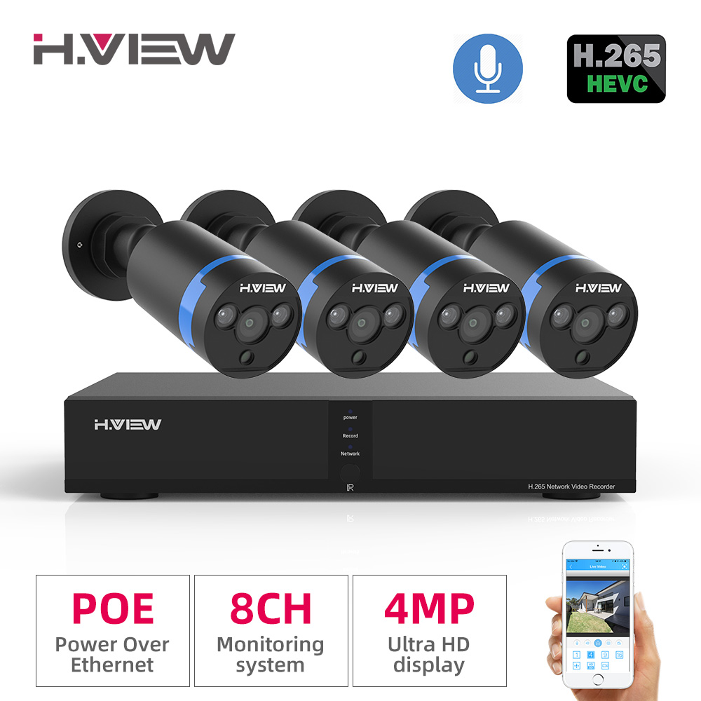 H.view Poe-Ip-Camera-Kit Security-System Surveillance Outdoor Audio 4MP H.265 8CH Record