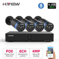 H.View Video Surveillance poe ip camera Kit 4MP cctv camera Security System 8CH Outdoor Audio Record H.265 nvr camera Set