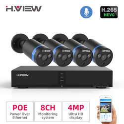 H. view Video Surveillance Poe Ip Camera Kit 4MP Cctv Camera Security System 8CH Outdoor Audio Record H.265 Nvr Camera Set