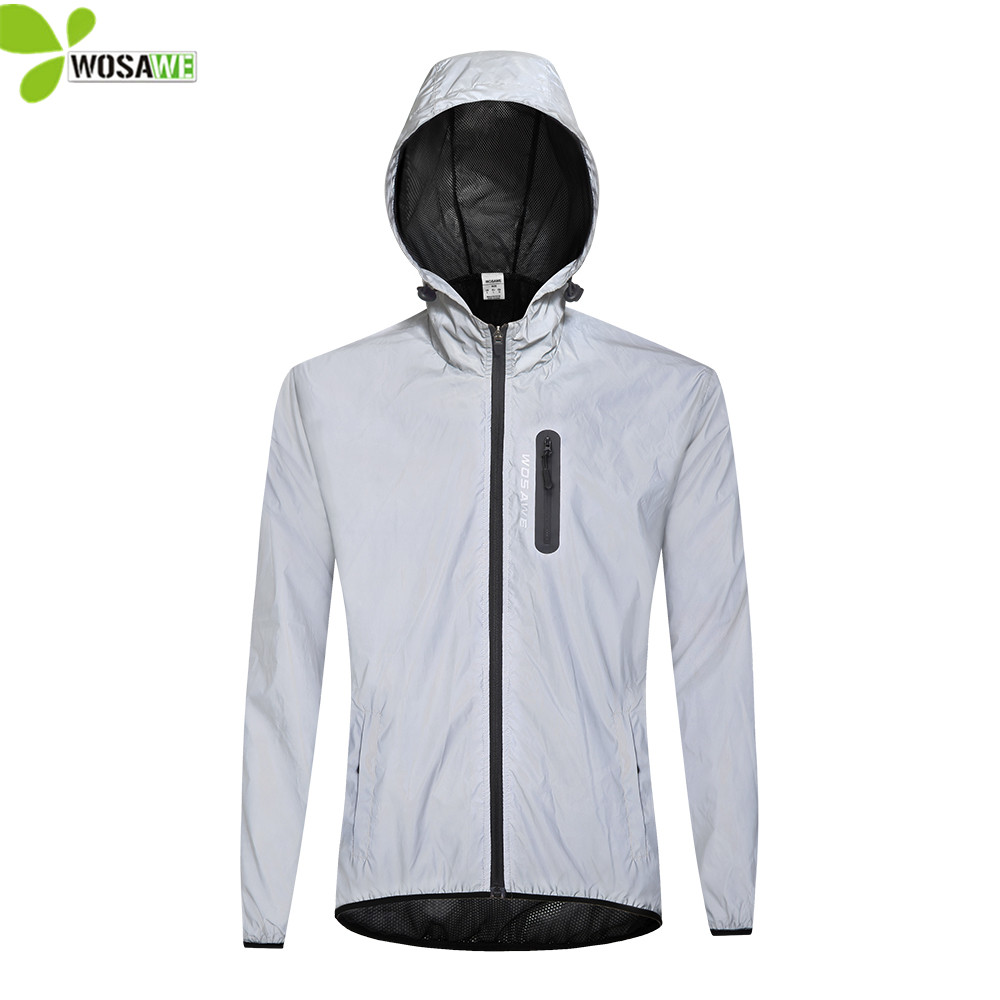 WOSAWE Windproof Reflective MTB Sports Jackets Waterproof Road Bike Windbreaker Night Sportswear Bicycle Long Jersey Top Coat