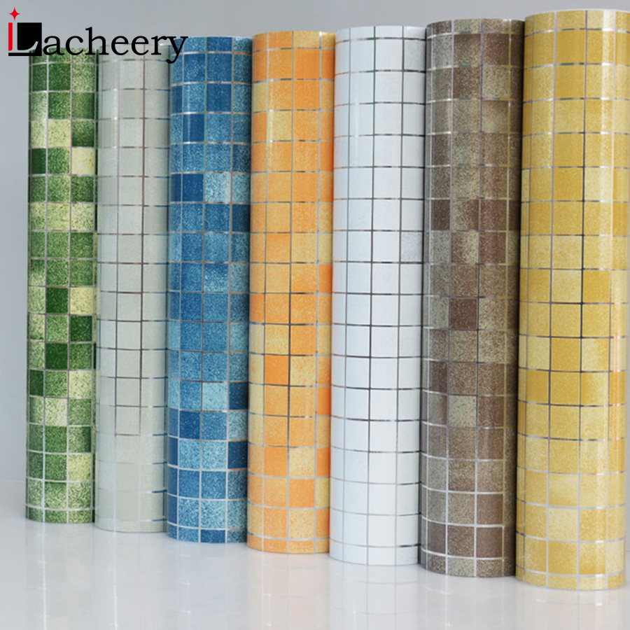 New Bathroom Decor Mosaic Tiles Waterproof Wall Stickers Vinyl Self Adhesive Wallpaper Kitchen Backsplash Anti-oil Contact Paper