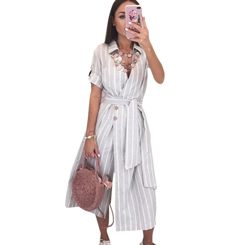 MVGIRLRU Women Summer Striped Loose Dress V Neck Buttons Long Dress Casual Short Sleeve Belted Dresses