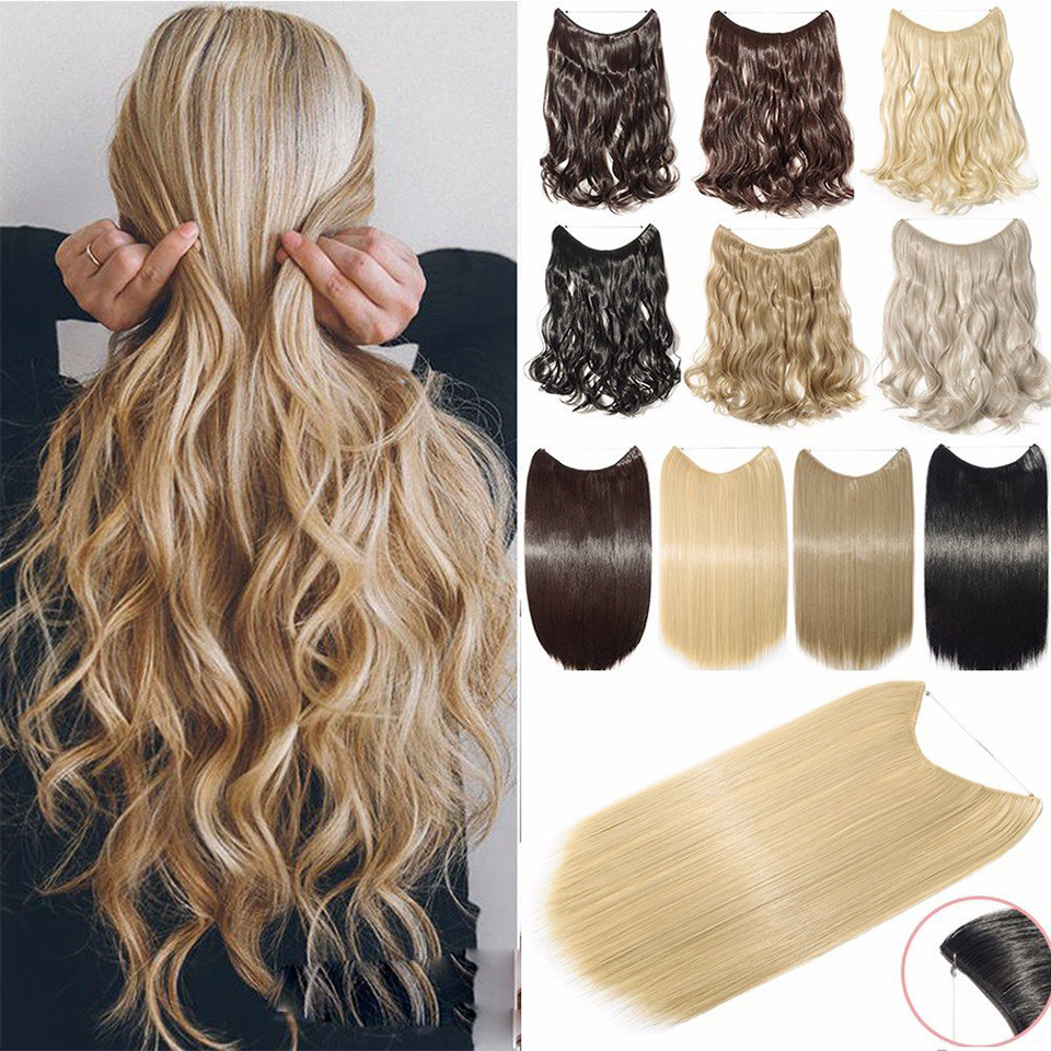 MEIFAN Synthetic Long Straight/Curly Hair Pieces Invisible Wire Secret Fish Line No-clip Hairpiece Clip In Hair Extensions