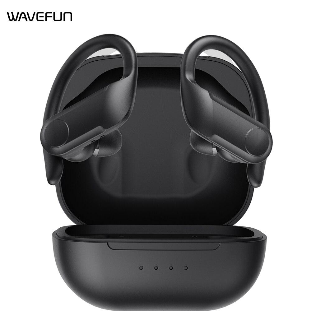 Wavefun Беспроводной наушники Bluetooth 5,0 наушники тренировки объем IPX5 Водонепроницаемый Беспроводной Bluetooth гарнитура для смартфонов