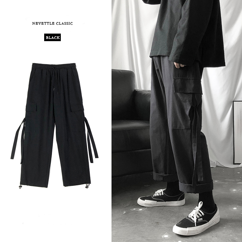 Cargo Pants Men Streetwear Hip Hop Pants Loose Korean Style Ankle Length Trousers Overalls Elastic Waist Black Gray Techwear
