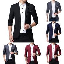 2019 L-5XL Mens Formal Slims Fit One Button Suit Long Sleeve Notched Blazer Cotton Blend Coat Jacket Top Blazers Men Sui