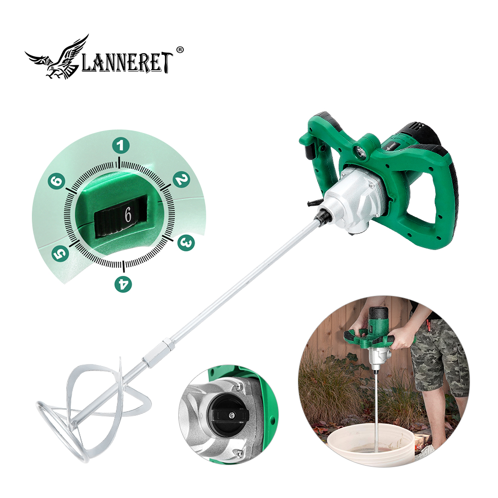 Electric Cement Mixer 1300W Mortar MIxer Paint Concrete Adjustable 6-Speed Handheld Mixer Tool LED Light