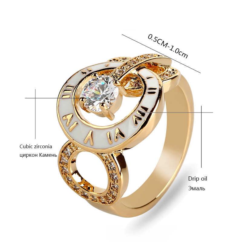 KCALOE ยี่ห้อผู้หญิงแหวนทอง/Rose Gold Cubic Zirconia Rhinestone หยดน้ำมันแฟชั่นตัวเลขโรมันหญิงแหวน Anillos