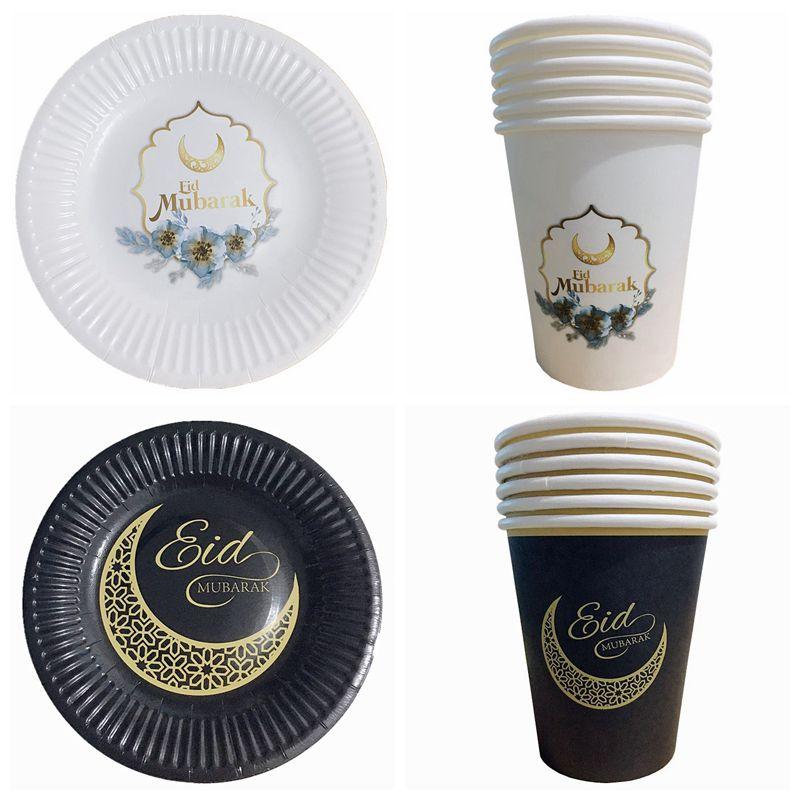 Украшения на Рамадан вечерние поставки ИД Мубарак Бумага пластины чашки баннер bBlloons для Рамазан Мубарак ИД вечерние Декор мусульманских пользу