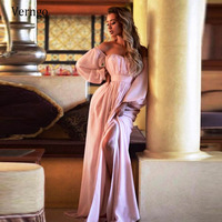 Verngo 2021 New Pink Evening Dress Off the Shoulder Puff Long Sleeves A Line Formal Party Gowns Simple Elegant Robe de mariee