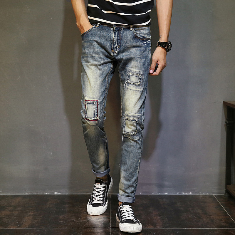 Stretchy Ripped Hole Design Denim Skinny Jeans Distressed Men New 2019 Spring Autumn Clothing Good Quality