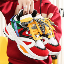 Designer Shoes Chunky-Sneakers Multi-Color Big-Size Casual Women Thick Sole Trend Height-Increasing